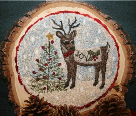 10 Yards Country Christmas Primitive Folk Art Reindeer Burlap Like Wired Ribbon