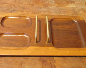 Mid century Modern Desk Caddy organizer tray with letter holder Mixed wood