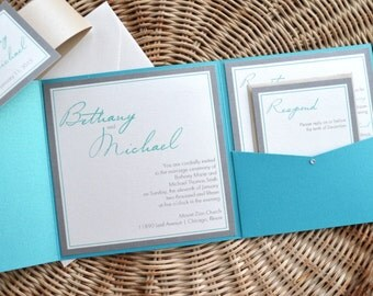 SALE! Turquoise Wedding Invitation, Pocketfold, Beach, Simple, Teal, Sand, Taupe, Elegant, Rustic, Classy, Modern Script Design, Sample