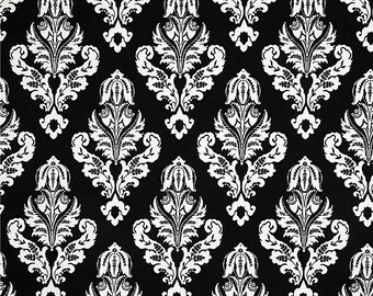 SALE - Avery Black White Premier Prints Fabric - One Yard -  Black and White Damask Home Decor Fabric