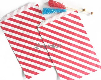 Large Red Stripe Favor Bags | 6.25 x 9.25 Stripe Favor Bags | Red favor bag | Popcorn bag | Candy Bag | Treat Bag