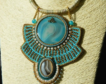 "Embroidered necklace ethnic ""OUM EL DOUNIA"""