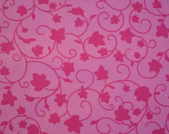 """2 yards Heritage Studio Collection, Pink Cotton Fabric. Pink on Pink Leaves, 100% Cotton Fabric, 2 full yards, 2yards X 44"""", Quilting Fabric"""