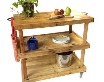 Large Industrial Rustic Bar or Kitchen Cart / Island - Made to Order