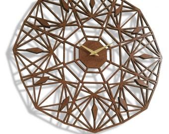 "19"" Sapphire Wall Clock, Large. Laser cut, Mid century, modern, Geometric, Minimal, Wood, Wall Art, Decor, Unique."