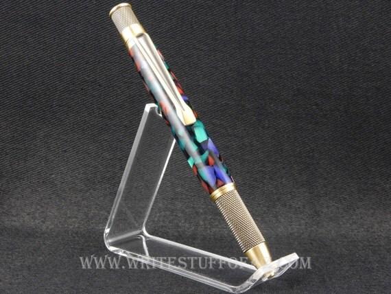 Retro Twist Pen, Purple Red & Green Resin, Parker Refill
