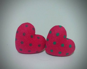 Fabric Heart Earrings Hot Pink