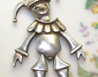 "Vintage ""MARIONETTE"" Harlequin Pendant/Necklace...Sterling Chain...Articulated..Head and Neck Move... Medieval"