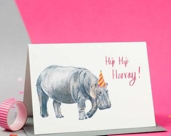 Hip Hip Hooray Illustrated Hippo Birthday Card