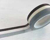Black White Gray Washi / Masking Tape - 15 mm x 10 M