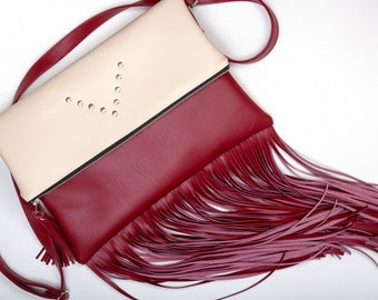 Cream and Bordeaux Vegan Leather Fold Over Purse / Crossbody Bag / Fringe Bag