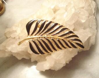 Large Vintage Black Enamel Leaf Brooch On Gold Tone
