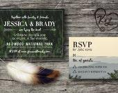 PRINTABLE Bohemian Rustic Forest Wedding Invitation Boho Chic Gypsy Soul Hippie Woodland Lake Wanderlust Mountain RSVP Digital