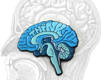 THINK Anatomical Brain enamel lapel pin
