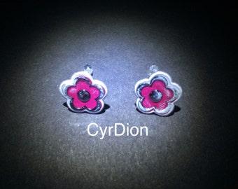 Stud earrings teenage girls women fuchsia flower chrome edge Cyrdion