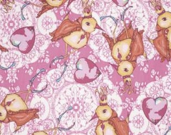 Tina Givens Feather Flock 'Dancing King' in Fuscia Cotton Fabric
