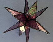 Stained Glass, Plum Moravian Stars,12 Point Hanging Star, Suncatcher,Iridescent Glass, Colored Glass, 3D Star Ornament, Home Decor, Gift