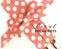 Coral Bow Tie and Suspenders:  Boys Coral Suspenders, Polka Dot Bow Tie, Toddler Suspenders, Salmon, Coral Polka Dot, Ring Bearer