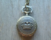 Crown Pocket Watch Necklace, Watch Really Works, Small Brass Crown, Steampunk, Timepiece Necklace, Many other styles and sizes are available