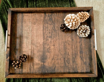 The Horizon Handcrafted Wood Serving Tray - (Large) Ottoman tray, rustic tray, coffee table tray, breakfast tray, tv tray