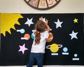 Montessori Activity: Solar System Felt Wall, Montessori Planet Learning Activity, Waldorf outer space, Home School, Preschool, Waldorf toy