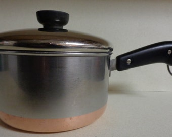 Vintage Revere Ware Copper Bottom Stainless Saucepan Pan 1 - 1/2 quart with Lid