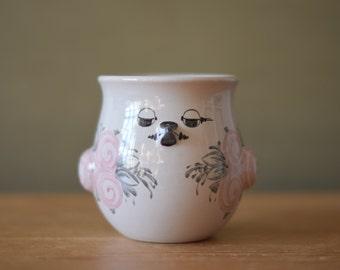 Bjorn Wiinblad Own Studio - bird shaped bowl / flower pot - handpainted - Danish midcentury pottery