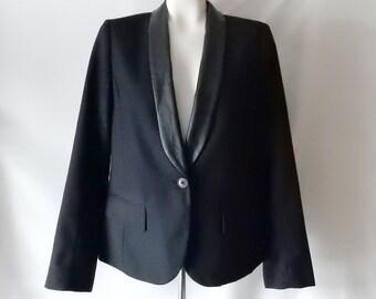 Sz M 6 8 Tuxedo Jacket w Vegan Faux Leather Lapels- American Eagle - Tux - Black