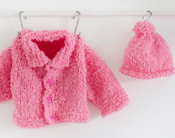 Newborn Pink Sweater hat set, Fluffy newborn sweater, newborn sweater, Sweater hat set, Pink sweater hat set, Baby sweater set, baby hat set