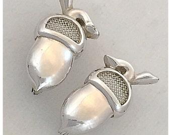 Acorn Earrings, SPERRY Silver Tone Acorn Clip on Earrings