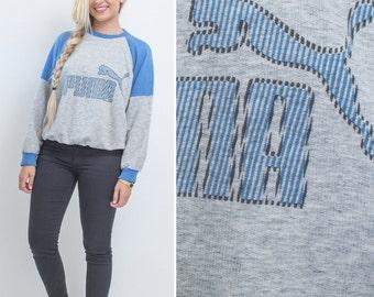 Vintage PUMA sweatshirt mens womans EIGHTIES crew neck 80s heather grey Puma SPORTSWEAR blue pull on sweatshirt