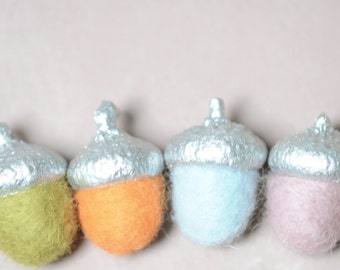 Felted Acorn copper felted pendant wool merino