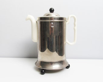 Vintage Art Deco insulated White Porcelain and Metal Inox Tea Pot and Cover, Holland Dutch