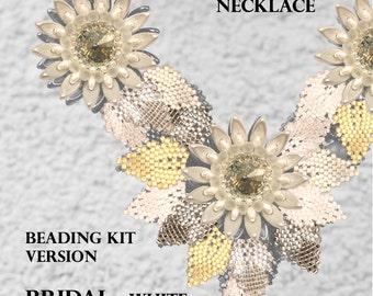 Kanzashi Flower Necklace - Beading KIT - version Bridal