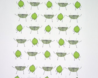 it's lime time/ limited edition illustration giclee print -   add a bit of zest to your kitchen.