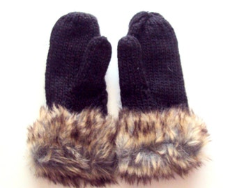 SALE! Knit Mittens Cable Knit Faux Fur Gloves Wool Mittens Fleece Lining Women Fashion Accessories Gift Ideas