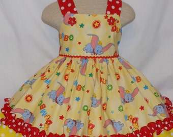Flying Dumbo, Circus Dress, Custom Boutique Style, Disney Dumbo Birthday Dress, For girls of all ages, Unique, Handmade Flying Dumbo  Dress