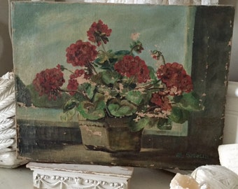 Antique Oil. Floral, Jeanne d'Arc, Vintage my Nina, Shabby Chic, signed