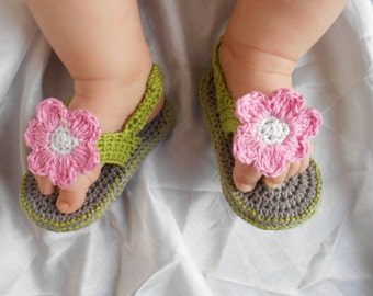 Baby Barefoot Sandals / Baby Photo Prop / Baby Sandals / Baby Crochet Shoes / Baby Crochet Sandals / Baby Flower Sandals