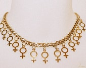 Venus symbol gold/silver  plated chunky chain statement necklace