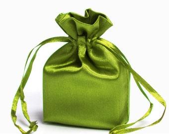 Large Moss Green Satin Gift Bag