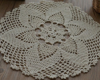 "12"" Hand Crochet Ecru Pineapple Round Doily Table Cloth Topper Runner"