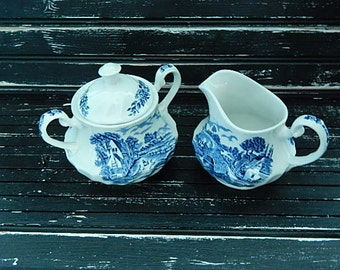 Vintage Sugar Bowl and Creamer - Blue Brook - Staffordshire England