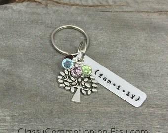 READY TO SHIP!  Family Tree of Life Key Chain with Birthstone(s) - Hand Stamped Jewelry - Keychain - Mothers Day Mom Grandma Nana Aunt Mimi