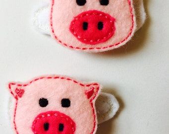 Pink Piggy Embroidered Hair Clippies