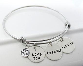 Personalized Adjustable Stackable Bangle Bracelet   Anniversary Gift Custom Bracelet