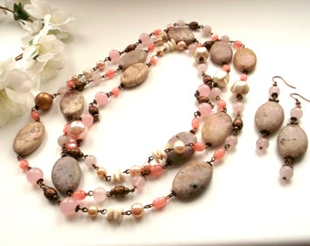 Jewelry set pink necklace large necklace jasper necklace jasper earrings large necklace jewelry set necklace jewelry  pink jewelry set