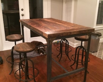 Tall Dining Table With Gusseted Steel Base