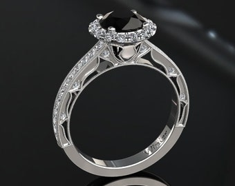 Natural Black Diamond Halo Engagement Ring Black Diamond Ring 14k or 18k White Gold Matching Wedding Band Available W23BKDW