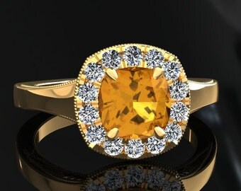 Yellow Sapphire Halo Engagement Ring Cushion Cut Yellow Sapphire Ring 14k or 18k Yellow Gold Matching Wedding Band Available SW20YSY